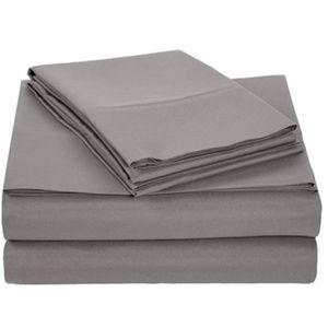 Gray Brushed Microfiber Bedding 4 Pieces Sheet Set